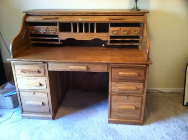 Oak Roll Top Desk - $350