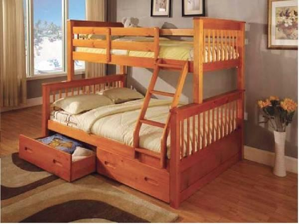 Oak twin full bunkbed convertible to two beds for sale for 2 twin beds for sale
