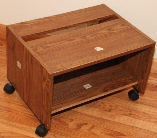Oak Wood Printer Cart With Wheels For Sale In San Mateo