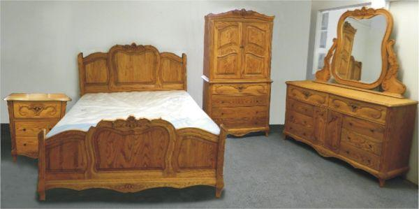 oakwood interiors versailles collection solid oak queen 5 piece set free delivery for sale