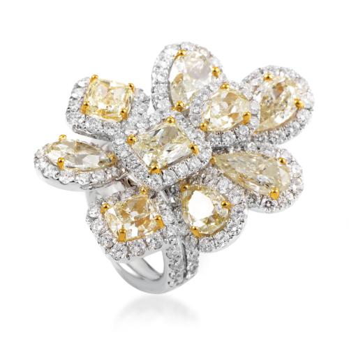 Odelia Women's 18K Multi-Tone Gold Diamond Cluster