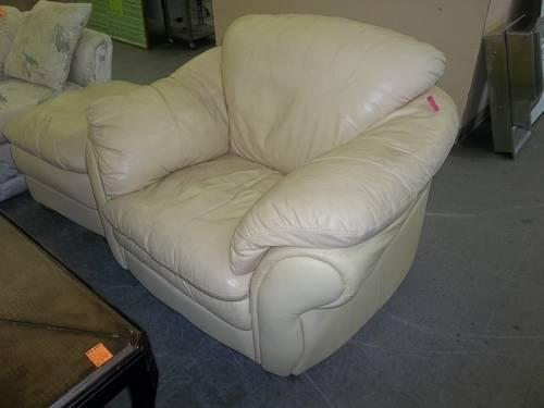 Off White Leather Chair And Ottoman For Sale In Sanford Florida Classified