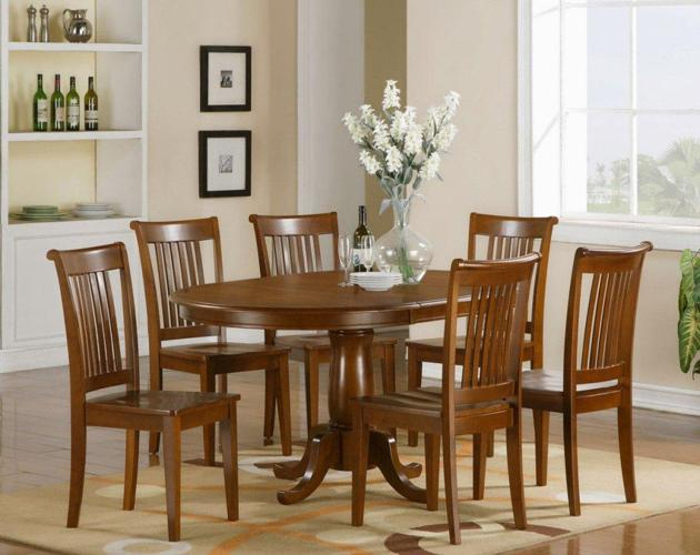 OK PC Portland Oval Dining Table With Wood Chairs - Oval dining table seats 6