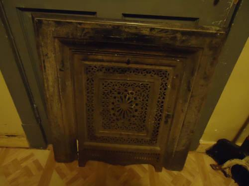 Old Antique Cast Iron Fireplace Door Cover Surround