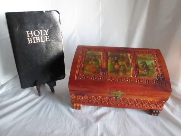 OLD BIBLE WITH CRAVED WOODEN BOX - $60