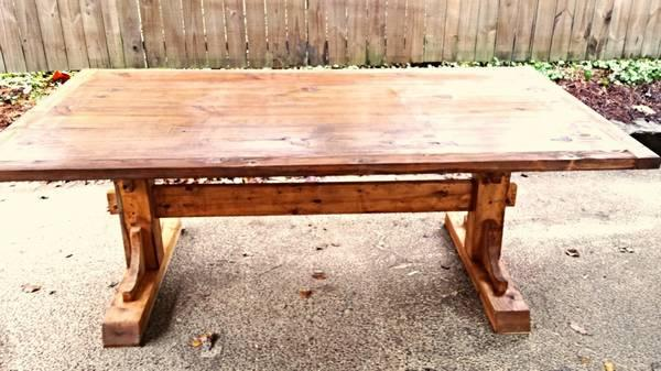 Old farmhouse trestle dining table for sale in nashville for Dining table nashville tn