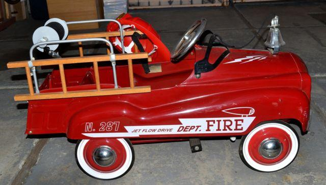 Old Fashioned Pedal Fire Truck, with Helmet