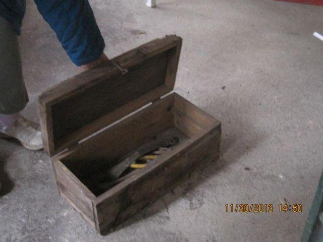 old gas can and old tool box for $12.00 each