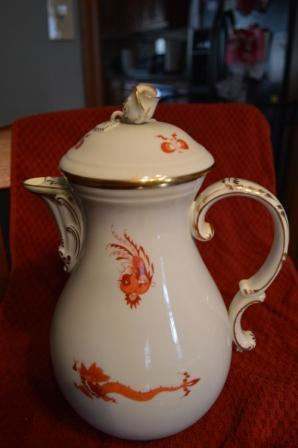 Old Meissen Red Dragon Coffee/Tea/Desert Service for 12