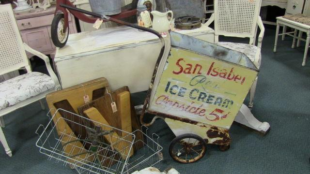 Old Metal Ice Cream  Milk Cart