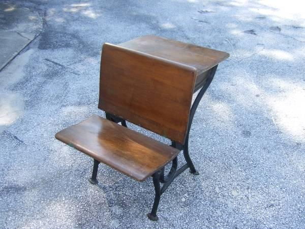 Old Oak Child's School House Desk with Chair - $90