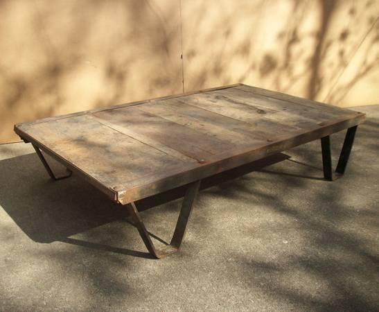 OLD WAREHOUSE CARTS INDUSTRIAL COFFEE TABLE UNFINISHED For Sale