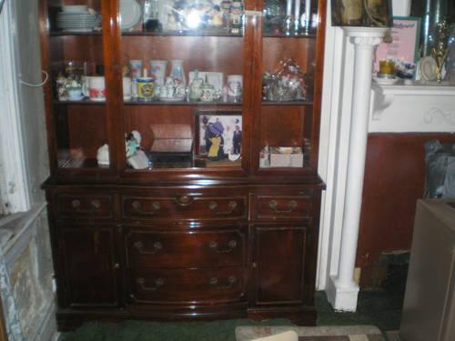 Old Wood Retro China Cabinet u0026 Buffet Table Set (Need & Old Wood Retro China Cabinet u0026 Buffet Table Set (Need TLC) for Sale ...