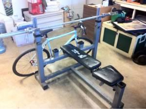 Olympic weight bench with leg extension 300lbs of weights - $1 Huntington beach