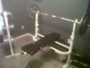 Olympic weight set, bench, dumbbell rack, plate tree, barbell  more - $950 Spring Hill