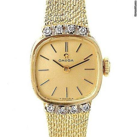 Omega Vintage Ladies 14k Yellow Gold Diamond Watch