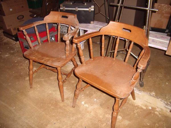Wood Captains Chair ~ One vintage wood captain s chair needs some work