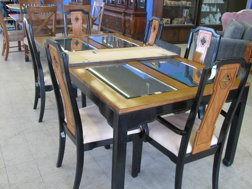 Oriental Dining Set with Mirrored Top Table and Six Matching Chairs for Sale in Fort Wayne ...