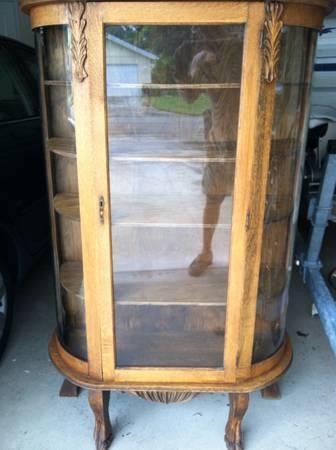 Original Antique Oak China Cabinet, Curved Glass,