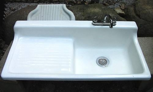 Original Cast Iron Farmhouse Kitchen Sink with Drainboard for Sale in Concord