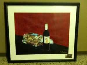 original framed impressionist painting of wine and bread