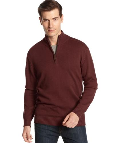 Oscar de la Renta Big and Tall Sweater, Quarter-Zip