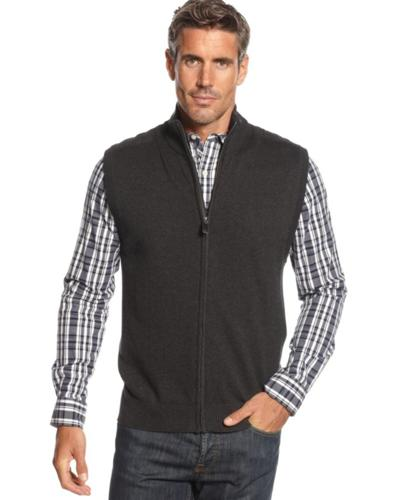 Oscar de la Renta Sweater, Zip Cotton Sweater Vest