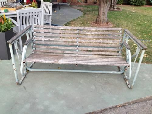 Outdoor Antique Metal Wood Glider 3 Seater For Sale In