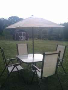 Outdoor Dining 4 Chairs Patio Table Umbrella Patio Set