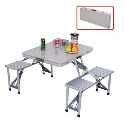 Outdoor Garden Aluminum Folding Camping Picnic Table W/