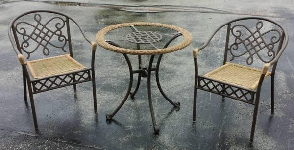 Outdoor Patio Furniture Bistro Set 2 Chairs And Glass