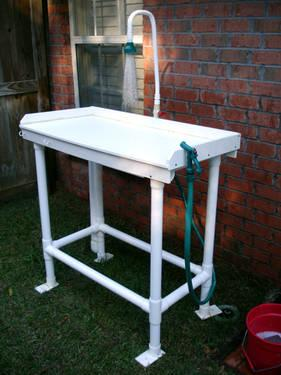 Outdoor Pet Washing Station Or Fish Cleaning Table For