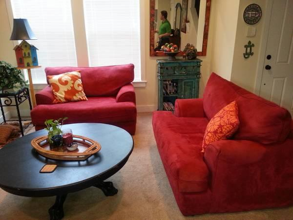 Overstuffed Microfiber Loveseat With Ottoman For Sale In