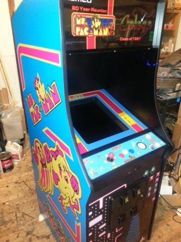 Pacman cabinet with Galaga Ms Pac man upright video arcade game COIN o