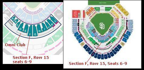 Padres Premier Club Seats (Section F, Row 15, Seats