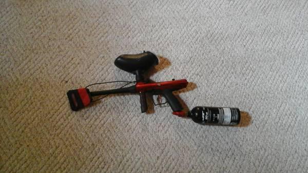 paintball gun, belt, barrel swabs, vest, helmet, and gloves - $220