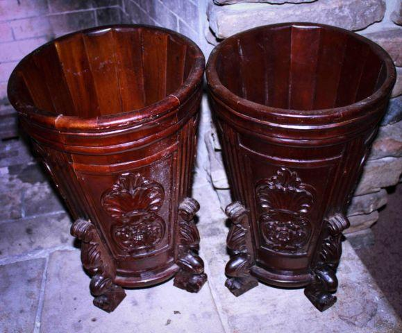 Pair Decorative Wooden Carved Umbrella Plant Stands Pair