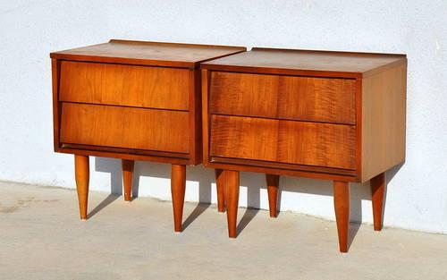 Pair mid century danish modern nightstands bedside end for Modern nightstands for sale