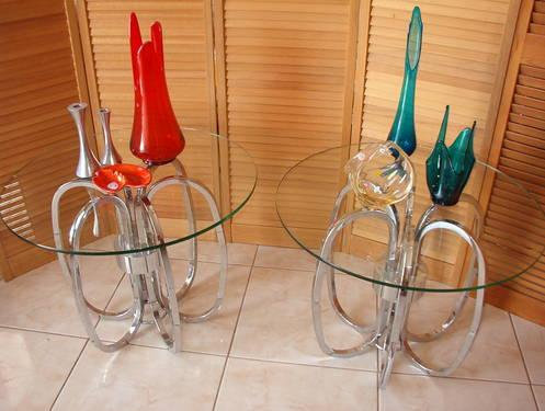 Pair of Angel Tables with Glass Tops.