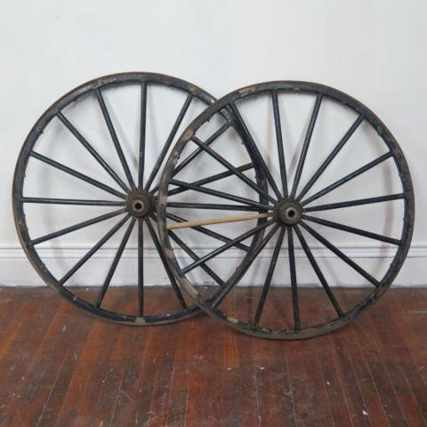 Pair of Antique 42 Wooden 16 Spoke Carriage Wagon Wheels
