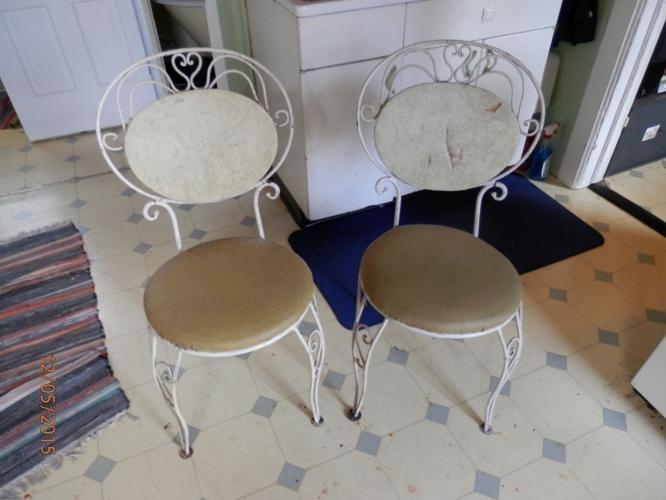Pair Of Antique Ice Cream Parlor Chairs Or Best Offer For Sale In