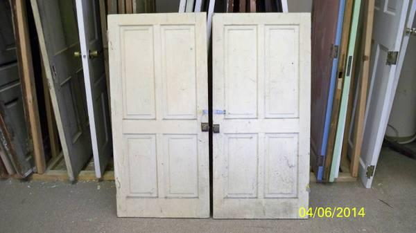 Pair Of Antique Or Vintage Kitchen Cabinet Doors Painted For Sale In