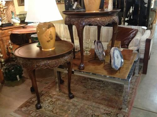 Pair Of Carved Crotch Wood Lamp Tables With Ball And Claw Feet For Sale In Dallas Texas