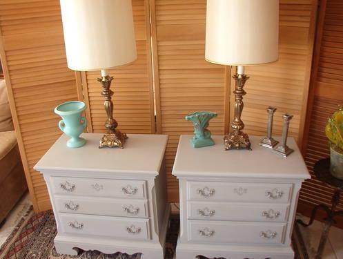 Pair of French Gray Painted Night Stands.