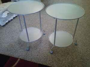 Pair of ikea round glass side tables 2 tier ellensburg for Furniture ellensburg