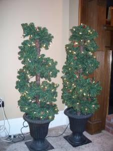 Pair of Spiral Topiary Trees Prelit - $75 (Billings,