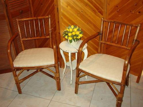 Pair of Vintage Florida Rattan Armchairs.