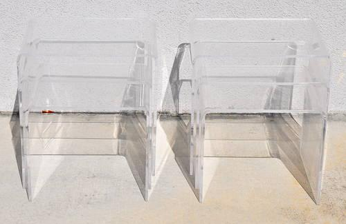 Pair of Vintage Lucite Nesting Tables Nightstands End