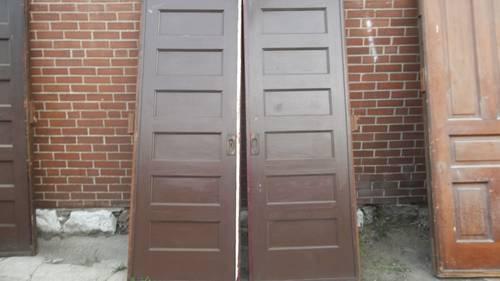 Pair Of Wood Antique Old Pocket Doors Sliding Rolling Needs Work For Sale I