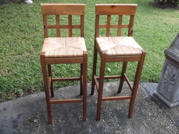 Pair Of Wooden Bar Stools Natural Rush Seats Made In